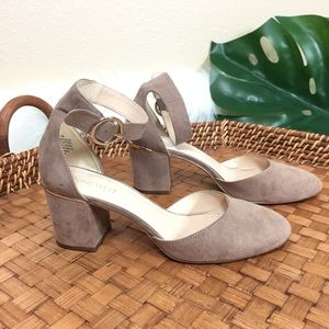 Nine West round toe sudeded ankle strap heels